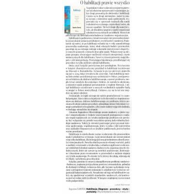 HABILITACJA. Diagnoza Procedury Etyka Postulaty